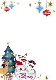 クリスマス サンタクロース 背景 フレーム 水彩 イラスト