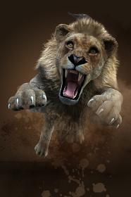 土煙を上げながら迫力のあるどう猛な表情で襲い飛びかかってくるオスのライオン