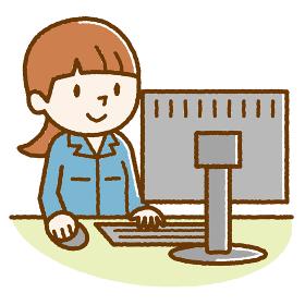 作業着 パソコン 女性 手描き風