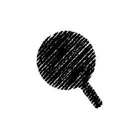 チョークで描いたような図形/アイコン(虫眼鏡)