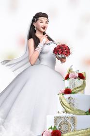 赤い花のブーケを持った純白のウエディングドレスを着た花嫁がウエディングケーキの前に立つ