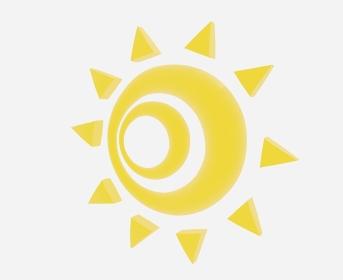 横を向く不気味な黄色の太陽「3D」
