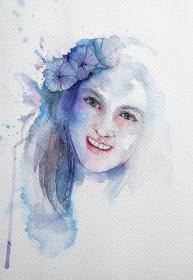 Hand drawn portrait of Watercolor beauty woman. Painting illustr