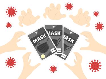 マスク不足問題のイラスト