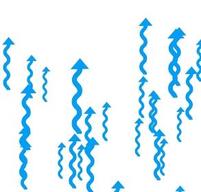 クネクネした青色のたくさんの矢印