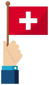 手持ち国旗イラスト ( 愛国心・イベント・お祝い・デモ ) / スイス