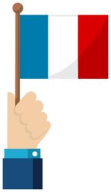 手持ち国旗イラスト ( 愛国心・イベント・お祝い・デモ ) / フランス
