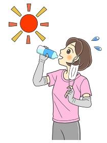 マスクをはずして水分補給するTシャツの若い女性