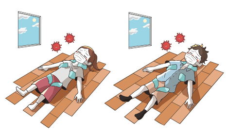 熱中症と新型コロナウイルスで倒れる 室内で