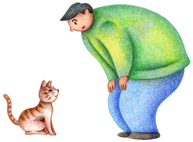 野良猫と男性