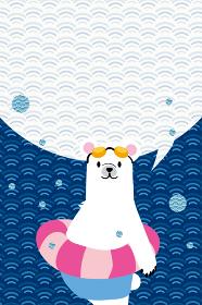 暑中見舞 葉書デザイン縦 吹き出し|水着浮き輪とシロクマのイラスト和柄_青海波背景のデザイン