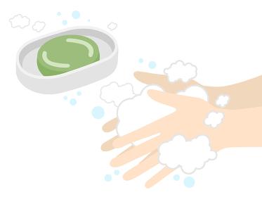 石鹸で手洗いをするイラスト