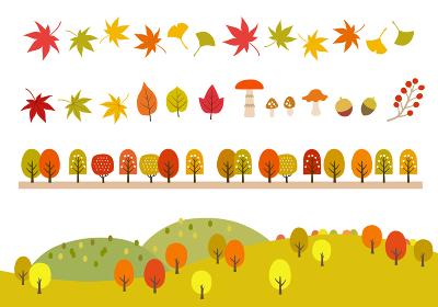 秋の紅葉アイコンと山の風景