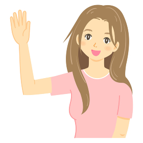「手をあげるポーズ」をするロングヘアの女性