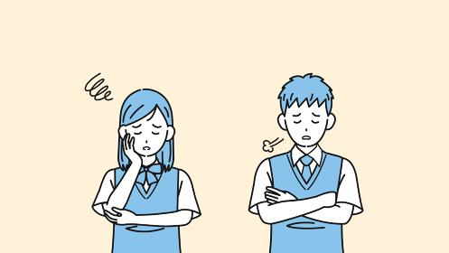 落ち込む学生 不安 悩み 中高生 高校生 中学生 男女 イラスト素材
