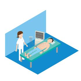 心電図検査をする男性