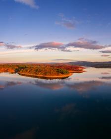 Drone aerial panoramic view of Sabugal Dam lake reservoir in Portugal
