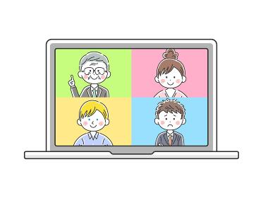 ノートパソコンでオンライン会議をする人のイラスト