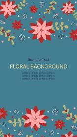 冬の花柄の縦長バナー背景素材