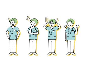 スクラブを着た男性看護師の感情表現イラスト(全身)