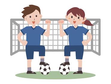 サッカー スポーツ 男女 ガッツポーズ