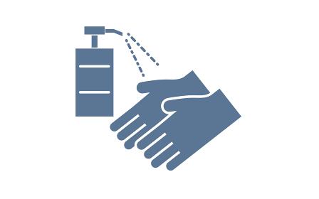 スプレー式の手指消毒のイラスト