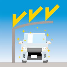 可愛い車とカーポートのイラスト 車正面 紫外線対策 UVプロテクション 駐車場 屋根 ミニバン