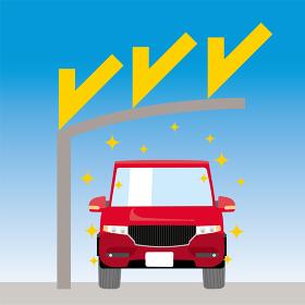 可愛い車とカーポートのイラスト 車正面 紫外線対策 UVプロテクション 駐車場 屋根 RV車
