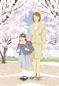 桜の下でお母さんと小学生の入学式