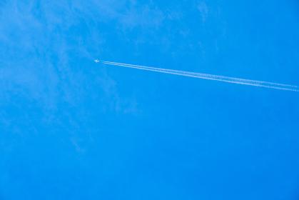 青空 空 飛行機雲 夏の空 背景 背景素材 8月 コピースペース