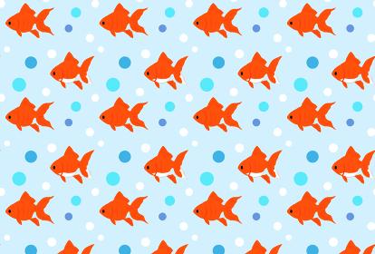 金魚が泳いでいるかわいい夏の背景イラスト