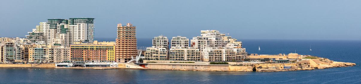 Tigne Point modern buildings as seen from Valletta