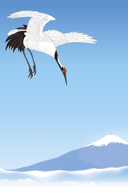 富士山と丹頂鶴 イラスト