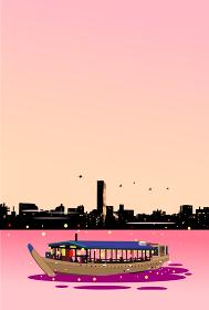 街並の夕景と屋形船