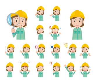 ヘルメットを被った作業着女性の表情イラストセット