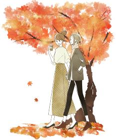 笑顔で歩く2人の女性 秋