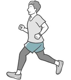 横向き ジョギング 男性 若い男性