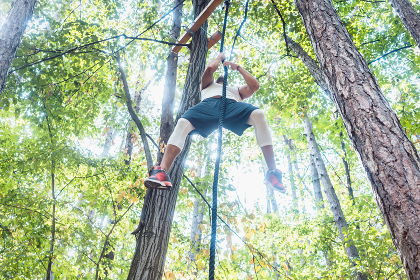 Fit man climbing rope in outdoor gym