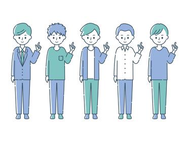 指を指す5人の男性