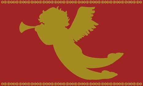 天使のラッパを吹くキューピッド 赤と金のシル