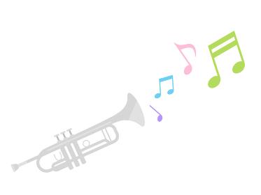 楽器のトランペットを演奏するイラスト