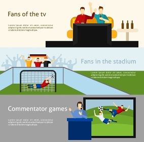 Soccer fans 2 flat banners set. Soccer world cup tv spectators and fans at the stadium flat banners set abstract isolated vector illustration