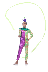 Clown with ribbon on white