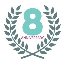 Template Logo 8 Anniversary in Laurel Wreath Vector Illustration EPS10. Template Logo 8 Anniversary in Laurel Wreath Vector Illustration