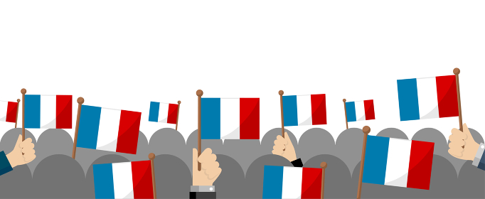 手持ち国旗 集団・群衆イラスト ( 愛国心・イベント・お祝い ・デモ) / フランス