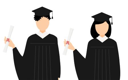 卒業証書を持つガウン姿の学生たち