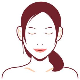 若い日本人女性モデル 上半身イラスト(美容・フェイスケア) / 目を閉じてほほ笑む顔