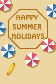 夏のイメージ|暑中見舞い葉書デザイン(横)|砂浜とビーチパラソル summer image