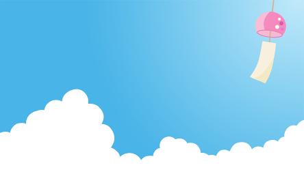 入道雲に風鈴|背景イラスト