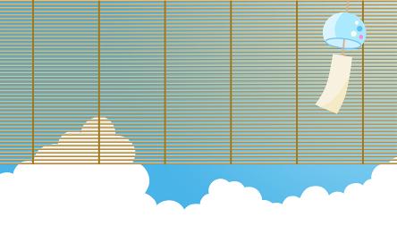 入道雲にすだれと風鈴|背景イラスト